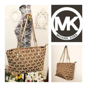 Auth Michael Kors Tan/Brown Logo Shoulder Bag